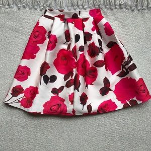Chic Wish Pink Floral Roses Skirt